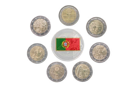 commemorative: Collection of commemorative coins of Portugal  isolated on white