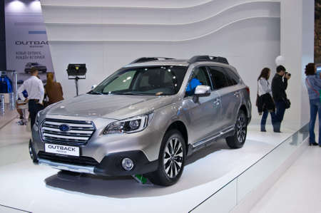 subaru: Moscow-September 2: Subaru Outback at the Moscow International Automobile Salon on September 2, 2014 in Moscow Editorial
