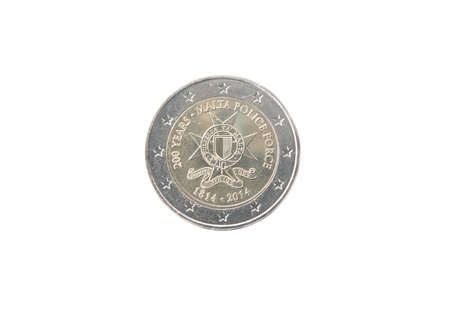 minted: Commemorative 2 euro coin of Malta minted in 2014 isolated on white Stock Photo