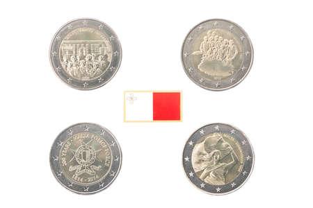 commemorative: Set of commemorative coins of Malta isolated on white Stock Photo