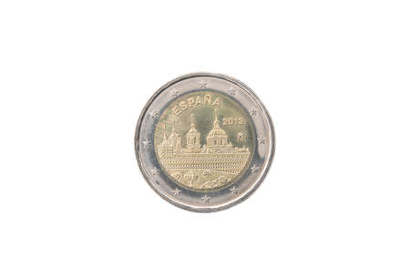 minted: Commemorative 2 euro coin of Spain minted in 2013 isolated on white