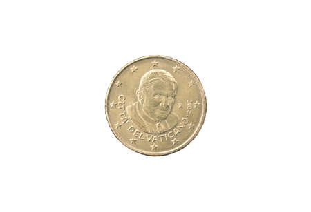 cent: 50 cent coin of Vatican isolated on white