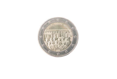 minted: Commemorative 2 euro coin of Malta minted in 2012 isolated on white