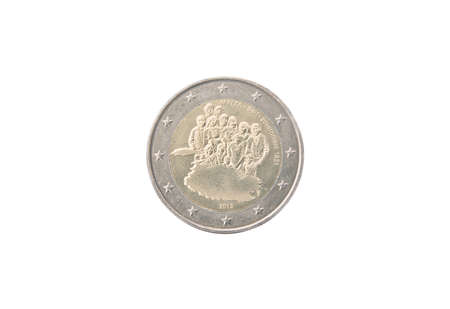 minted: Commemorative 2 euro coin of Malta minted in 2013 isolated on white Stock Photo