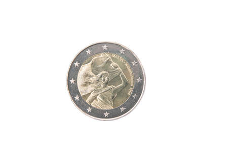 minted: Commemorative coin of Malta minted in 2014 isolated on white