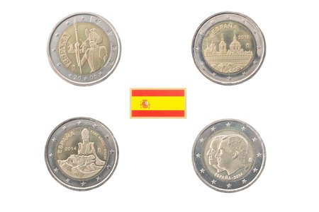 commemorative: Set of commemorative coins of Spain isolated on white