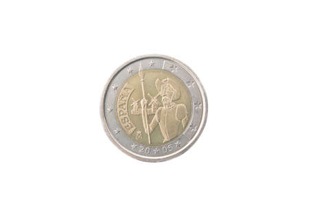 minted: Commemorative 2 euro coin of Spain minted in 2005 isolated on white