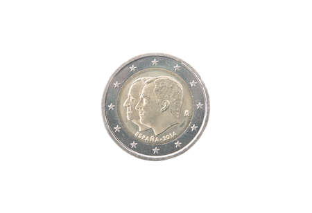 minted: Commemorative 2 euro coin of Spain minted in 2014 isolated on white Stock Photo