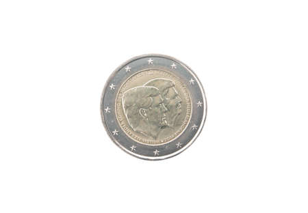 minted: Commemorative 2 euro coin of the Netherlands  minted in 2014 isolated on white