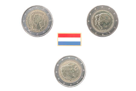 commemorative: Set of commemorative coins of the Netherlands isolated on white