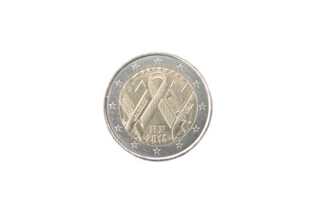 commemorative: Commemorative 2 euro coin of France minted in 2014 isolated on white