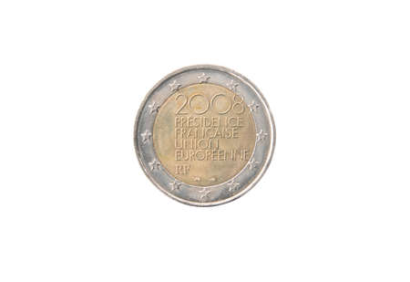 minted: Commemorative 2 euro coin of France minted in 2008 isolated on white Stock Photo