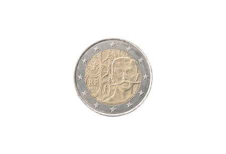 Commemorative 2 euro coin of France minted in 2013 isolated on white