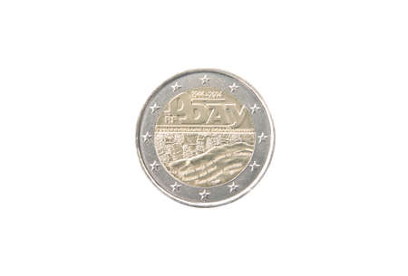minted: Commemorative 2 euro coin of France minted in 2014 isolated on white