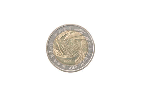 minted: Commemorative 2 euro coin of Italy minted in 2004 isolated on white