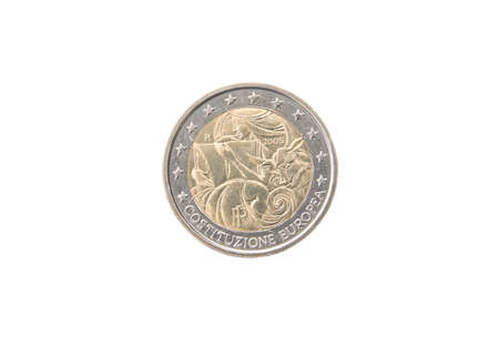 minted: Commemorative 2 euro coin of Italy minted in 2005 isolated on white