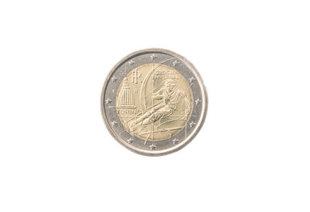 minted: Commemorative 2 euro coin of Italy minted in 2006 isolated on white