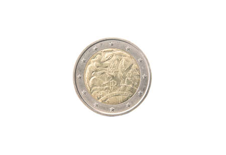 minted: Commemorative 2 euro coin of Italy minted in 2008 isolated on white