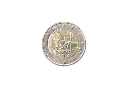 minted: Commemorative 2 euro coin of Italy minted in 2009 isolated on white Stock Photo