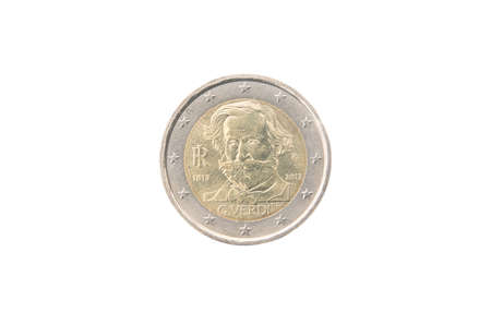 minted: Commemorative 2 euro coin of Italy minted in 2013 isolated on white