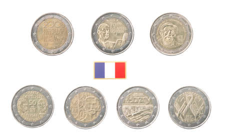 commemorative: Set of commemorative coins of France isolated on white Stock Photo
