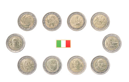 commemorative: Set of commemorative coins of Italy isolated on white Stock Photo