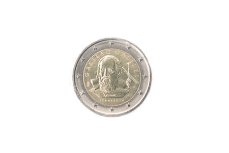 minted: Commemorative 2 euro coin of Italy minted in 2014 isolated on white Stock Photo