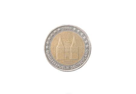 european exchange: Commemorative 2 euro coin of Germany minted in 2006 isolated on white