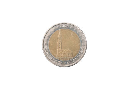 minted: Commemorative 2 euro coin of Germany minted in 2008 isolated on white