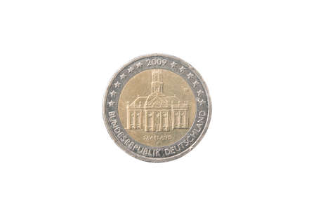 minted: Commemorative 2 euro coin of Germany minted in 2009 isolated on white Stock Photo
