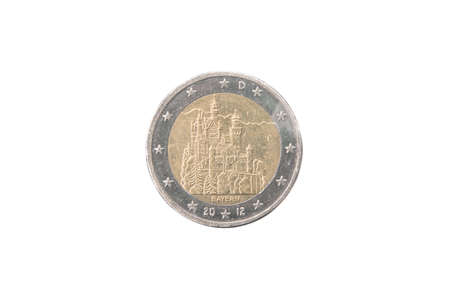 minted: Commemorative 2 euro coin of Germany minted in 2012 isolated on white Stock Photo