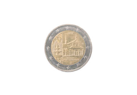 minted: Commemorative 2 euro coin of Germany minted in 2013 isolated on white Stock Photo