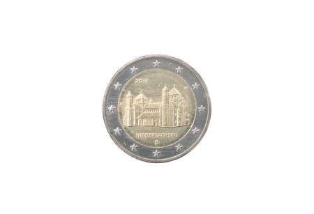 minted: Commemorative 2 euro coin of Germany minted in 20014 isolated on white Stock Photo