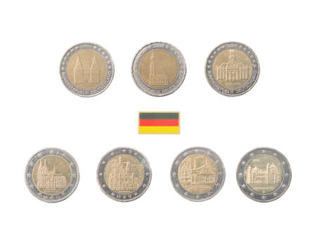 commemorative: Set of commemorative coins of Germany isolated on white Stock Photo