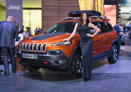 september 2: Moscow-September 2: Jeep Cherokee at the Moscow International Automobile Salon on September 2, 2014 in Moscow Editorial