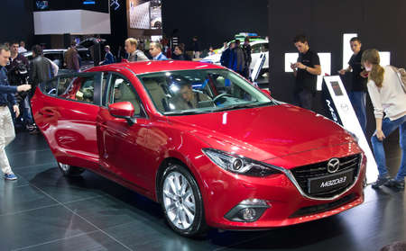 september 2: Moscow-September 2: Mazda 3 at the Moscow International Automobile Salon on September 2, 2014 in Moscow Editorial