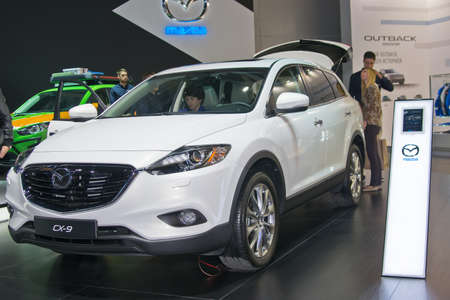 september 2: Moscow-September 2: Mazda CX-9 at the Moscow International Automobile Salon on September 2, 2014 in Moscow Editorial