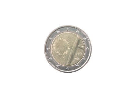 minted: Commemorative 2 euro coin of Finland minted in 2014 isolated on white