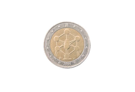 Commemorative 2 euro coin of Belgium minted in 2006 isolated on white Stock Photo