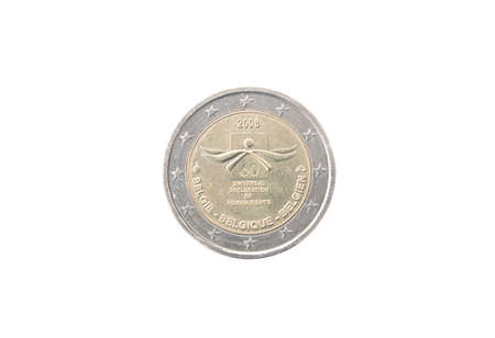 minted: Commemorative 2 euro coin of Belgium minted in 2008 isolated on white Stock Photo