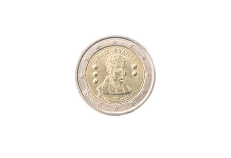 minted: Commemorative 2 euro coin of Belgium minted in 2009 isolated on white