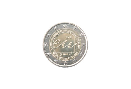minted: Commemorative 2 euro coin of Belgium minted in 2010 isolated on white Stock Photo