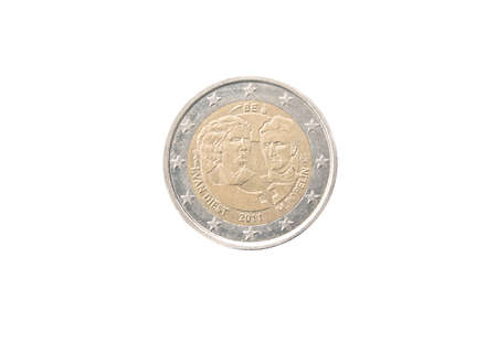 Commemorative 2 euro coin of Belgium minted in 2011 isolated on white