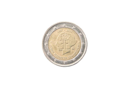commemorative: Commemorative 2 euro coin of Belgium minted in 2012 isolated on white Stock Photo