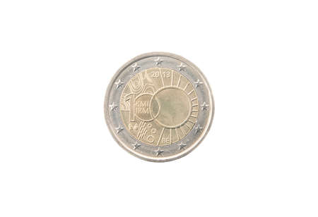 minted: Commemorative 2 euro coin of Belgium minted in 2013 isolated on white Stock Photo