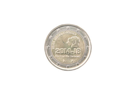 minted: Commemorative 2 euro coin of Belgium minted in 2014 isolated on white