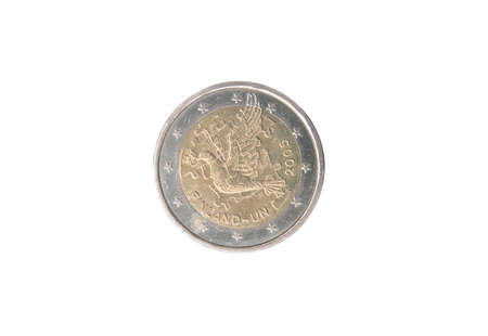 Commemorative 2 euro coin of Finland minted in 2005 isolated on white