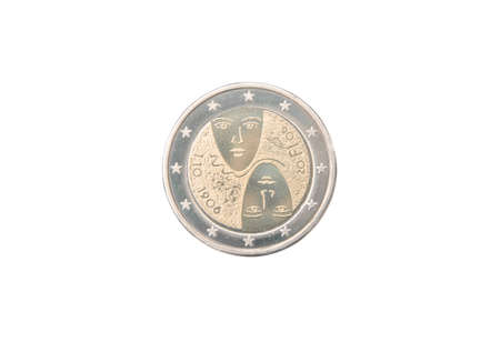 commemorative: Commemorative 2 euro coin of Finland minted in 2006 isolated on white