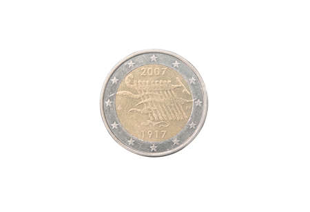 minted: Commemorative 2 euro coin of Finland minted in 2007 isolated on white