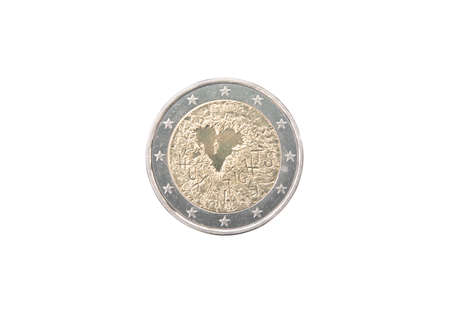 minted: Commemorative 2 euro coin of Finland minted in 2008 isolated on white Stock Photo